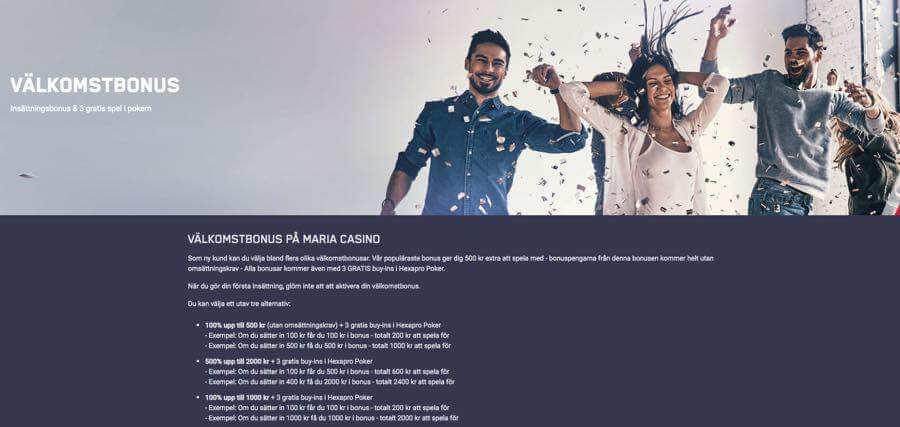 Marina Casino - Som ny kund kan du välja bland flera olika välkomstbonusar